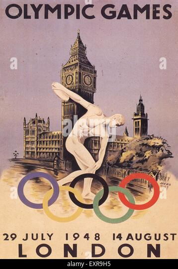 1940s UK Olympic Games Poster - Stock Image