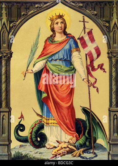 Margaret of Antioch, Saint, circa 300 AD, martyr and virgin, full length, riding on a dragon, Germany, circa 1880, - Stock-Bilder