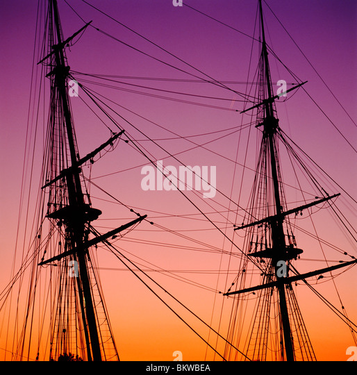 Mast & rigging at dusk, historic Flagship Niagara, Commander O H Perry defeated the British in 1813 Lake Erie, - Stock Image