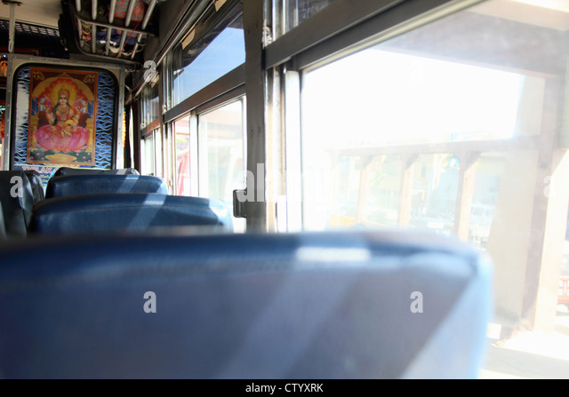 Empty seats on bus - Stock Image
