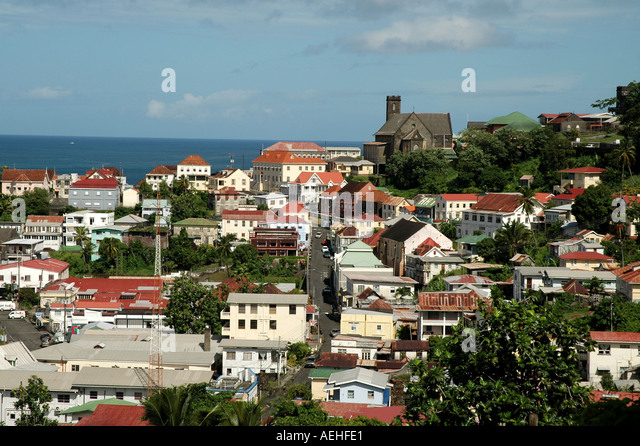 GRENADA Caribbean St Georges Harbour Overview - Stock Image