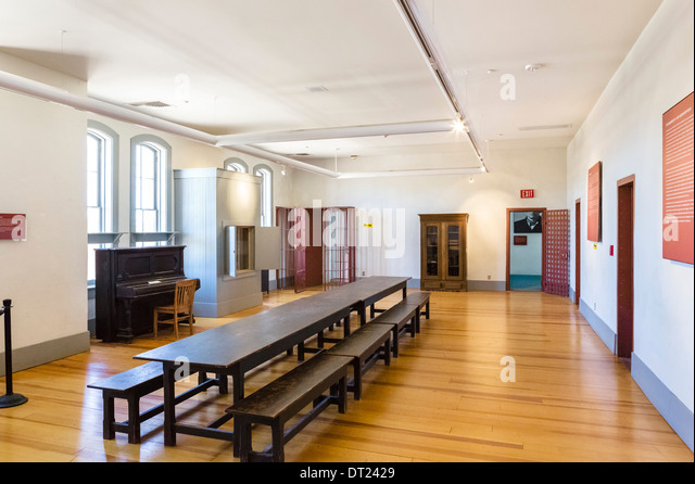 Interior of Wyoming Territorial Prison Museum, where the outlaw Butch Cassidy was once imprisoned, Laramie, Wyoming, - Stock Image