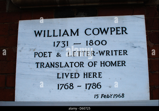 a biography of william cowper an english poet William cowper was an english poet and hymnodist one of the most popular poets of his time, cowper changed the direction of 18th century nature poetry b.