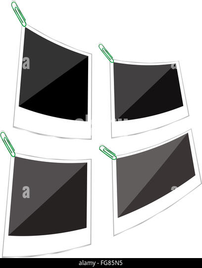 polaroid photo frames set with clip over white background - Stock Image