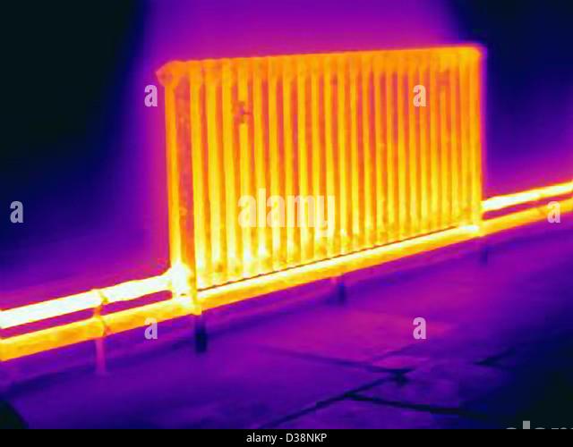 Thermal image of radiator - Stock Image
