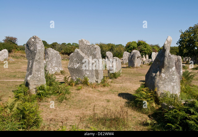 Megaliths of Carnac, Brittany, France - Stock Image