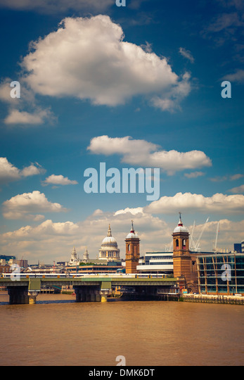 Clouds over Thames, London - Stock Image