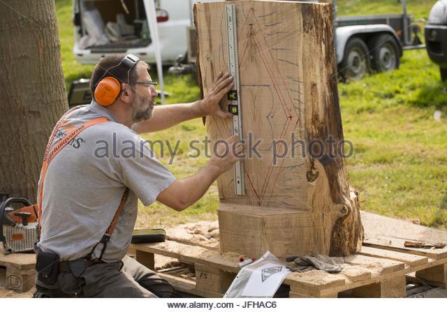 machine saw carve - Stock Image