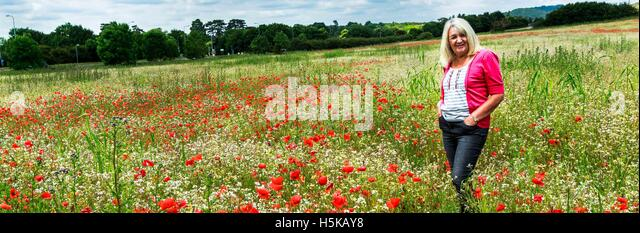 a blond mature woman wearing a pink jumper standing in a field of red poppies. - Stock Image
