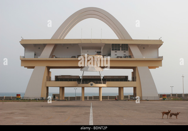 Independence Arch in Independence Square also known as Black Star square. Central Accra. Ghana. West Africa - Stock Image