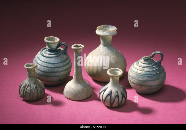Glass bottles Tylos period New National Museum Manama Bahrein Middle East A Woolfitt - Stock Image