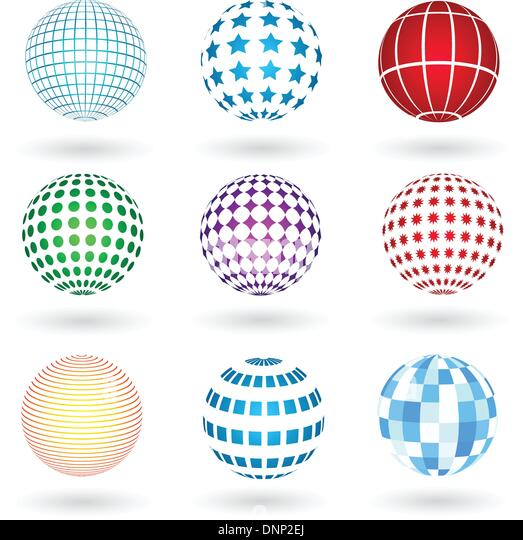 Spheres with various designs - Stock Image