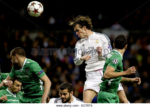 SPAIN, Madrid: Real Madrid's Welsh forward Gareth Bale during the Champions League 2014/15 match between Real - Stock Image