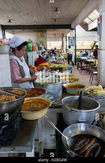 Food stalls. Sucre central market. Bolivia - Stock Image