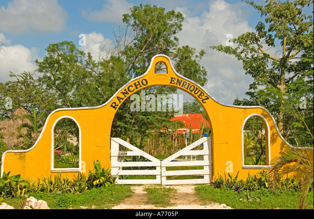 Mexico Cozumel colorful entrance gate small ranch - Stock Image