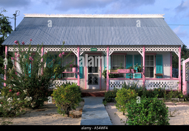 Grand Cayman Island West Indies Caribbean Pink House West Bay Traditional Architecture - Stock Image