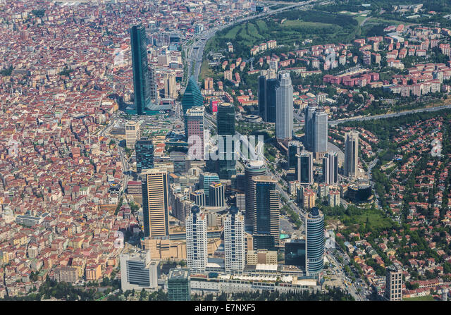 Istanbul, Levent, Turkey, architecture, buildings, city, contrast, market, new, red, skyline, skyscrapers, tall, - Stock Image