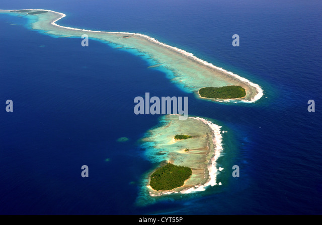 Aerial view of Micronesian atoll near Chuuk, Federated States of Micronesia, North Pacific - Stock Image