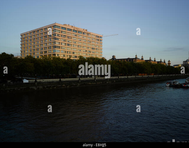 St Thomas' Hospital, London, from Westminster Bridge - Stock Image