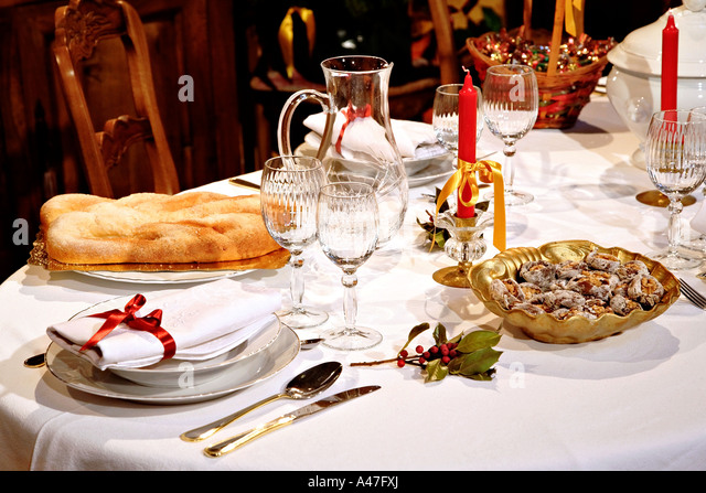 Inside a Provençal home at Christmas, France. - Stock Image
