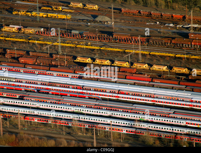 Aerial view, freight trains, freight terminal, Hamm, Ruhrgebiet region, North Rhine-Westphalia, Germany, Europe - Stock Image