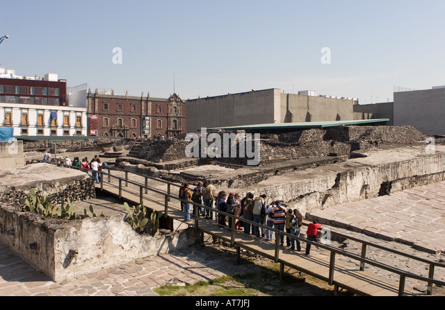 Plaza Templo Mayor o Plaza de las Tres Culturas (Plaza of the Three Cultures) in Mexico City DF - Stock-Bilder