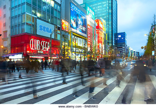 People crossing at Akihabara Electric Town, Tokyo, Kanto Region, Honshu, Japan - Stock Image