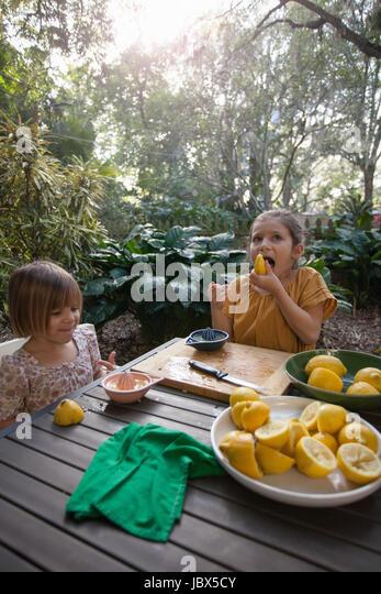 Two young sisters tasting and preparing lemons for lemonade at garden table - Stock-Bilder