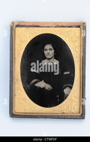 An antique collodion photographic portrait of a 'Mrs Leticia Hayden 1860' - Stock Image