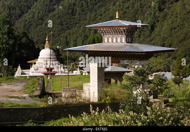 Eastern Bhutan, Trashi Yangtse, Chorten Kora, modelled on Nepali Bodhnath stupa, gateway - Stock Image