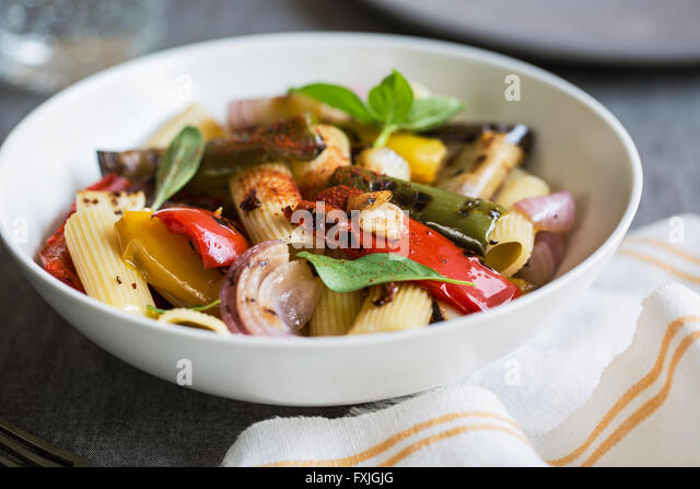 Rigatoni with roasted ,aubergine,bell pepper and garlic - Stock Image