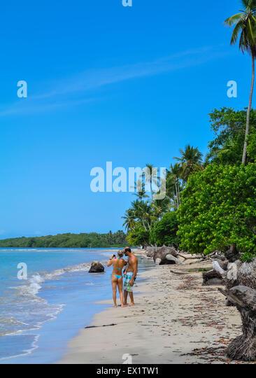 couple on Beach Morro de sao paulo Brazil south america - Stock Image