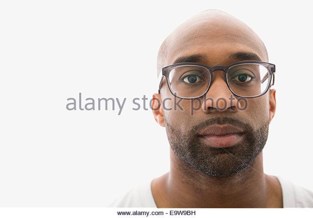 Portrait of serious man with eyeglasses and beard - Stock-Bilder