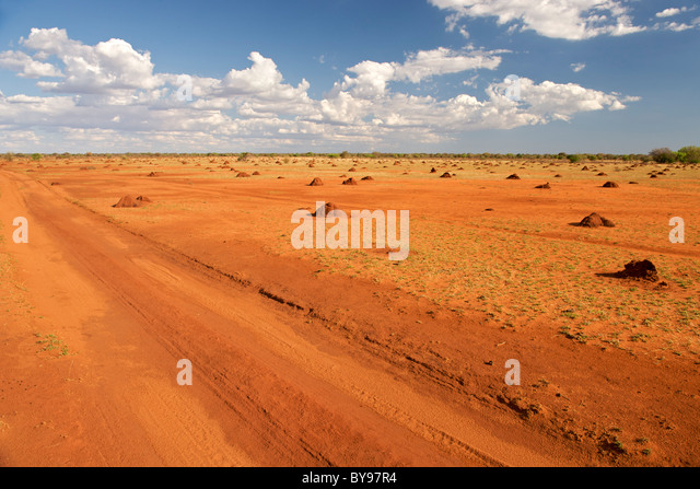 Barren, anthill-covered landscape in southwestern Madagascar on the road leading from Betioky to Tsimanampesotse - Stock-Bilder