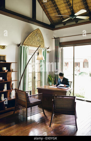 The Spa reception area at La Residence Phou Vao. Luang Prabang, Laos - Stock Image
