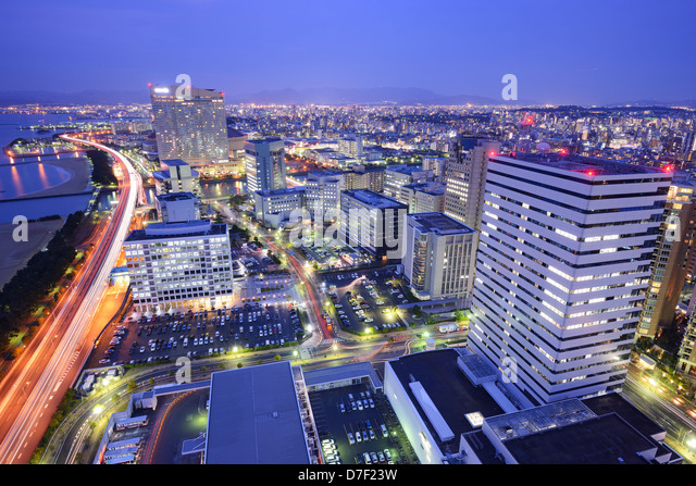 Skyline of Fukuoka, Japan at night. - Stock-Bilder