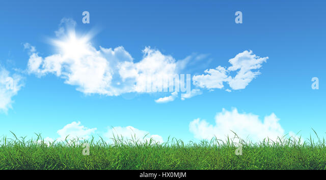 3D render of green grass and blue sky - Stock Image