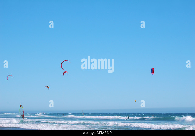 wind surfing parasailing and kite surfing in california - Stock Image