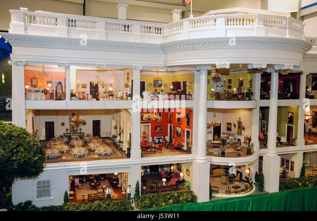 Little Rock Arkansas William J. Clinton Presidential Library miniature White House scale model rooms furniture replica - Stock Image