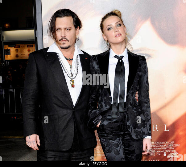 Los Angeles, USA. 21st Nov, 2015. Johnny Depp and Amber Heard at the Los Angeles premiere of 'The Danish Girl' - Stock Image