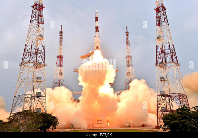 Sriharikota, India. 20th Jan, 2016. PSLV-C31 rocket of Indian Space Research Organisation (ISRO) carrying IRNSS - Stock Image