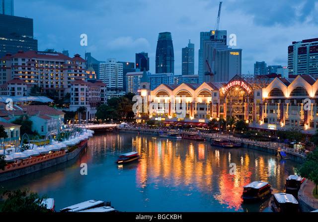 Riverside Point, Singapore, at dusk - Stock Image