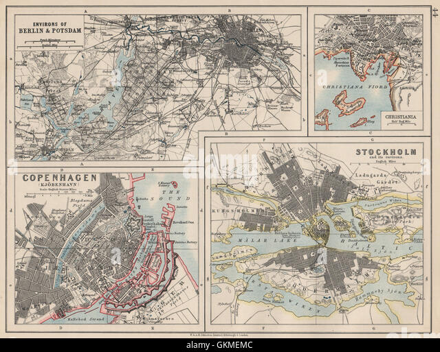 EUROPEAN CITIES. Berlin Copenhagen Stockholm Christiania/Oslo. JOHNSTON 1903 map - Stock Image