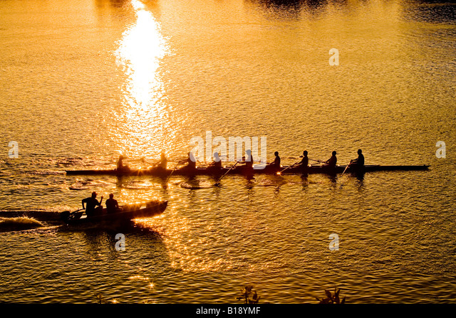 Rowing crew trains at Royal Canadian Henley Regatta Course, on Twelve Mile Creek, St. Catherines, Ontario, Canada. - Stock Image