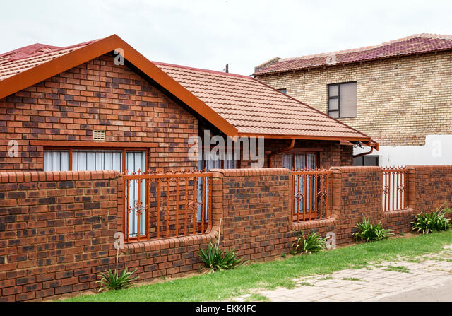 South Africa African Johannesburg Soweto house home brick wall - Stock Image
