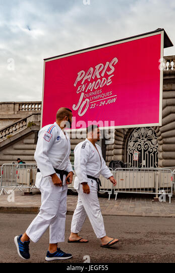 Paris, France. 24th Jun, 2017. Judoka athletes about to demonstrate during the Paris Olympic Games 2024 showcase. - Stock Image