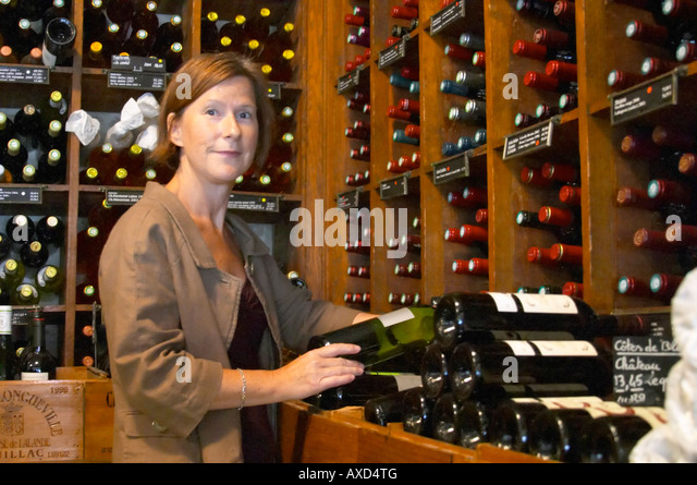 Britt Karlsson, BKWine, in Paris Cave Auge wine shop Paris, France. Wine shop. - Stock Image