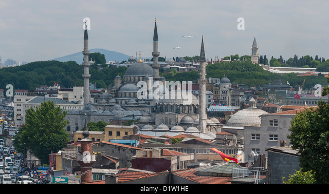 View of Rustem Pasha Mosque, New Mosque and Topkapi Palace. Istanbul,Turkey - Stock Image