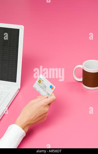 Person internet banking - Stock-Bilder