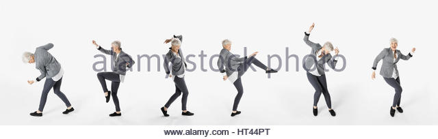 Sequence senior woman dancing against white background - Stock-Bilder